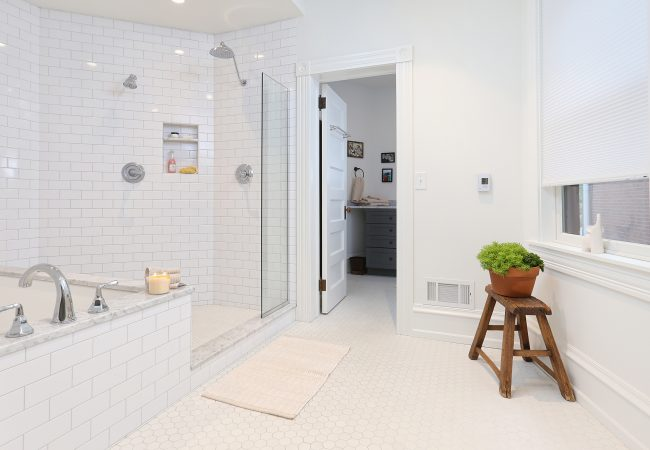 Garden Court Master Bathroom with open shower and rectangle tub with white tile by Bellweather Design Build