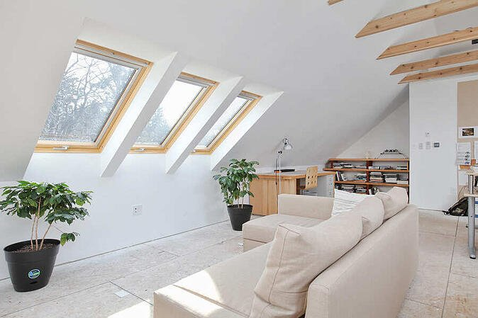 Studio Attic with Arched Ceiling by Bellweather Design-Build in Philly