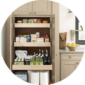 beige custom built-in pantry cabinets for for food in Philadelphia