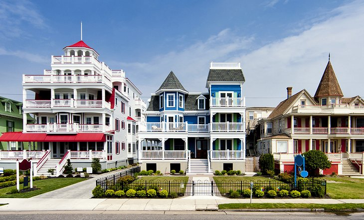 Colorful homes along the beach of Cape May, NJ - photo by PlanetWare