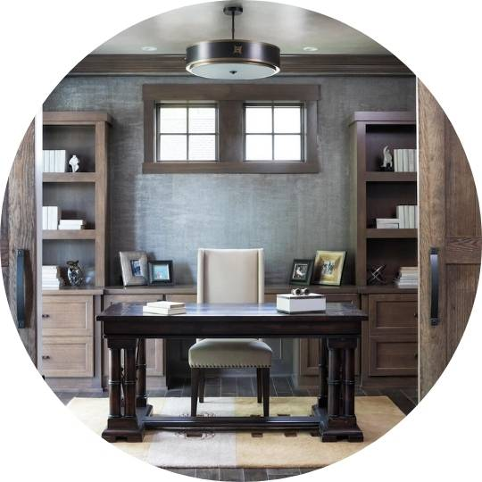 home office with white chair, grey walls and espresso desk in middle of office