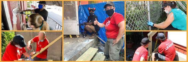 Brianna Chakalis Carpentry Volunteer with Raheem at Remodel Homes at Rebuilding Together Philadelphia for Bellweather Design-Build