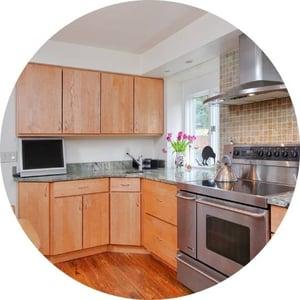 Custom light brown wood cabinets by Bellweather Design Build in Philadelphia