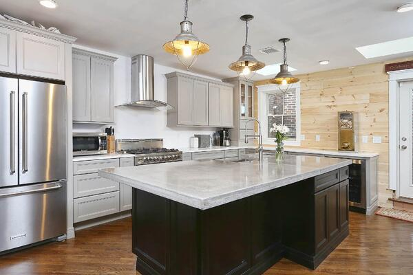 newly built kitchen with industrial features in philadelphia