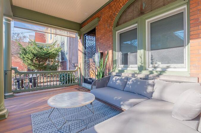 Philadelphia Outdoor Porch Remodel with Seating by Bellweather Design-Build