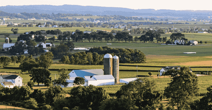 Outdoor green lush fields in Lancaster County, PA