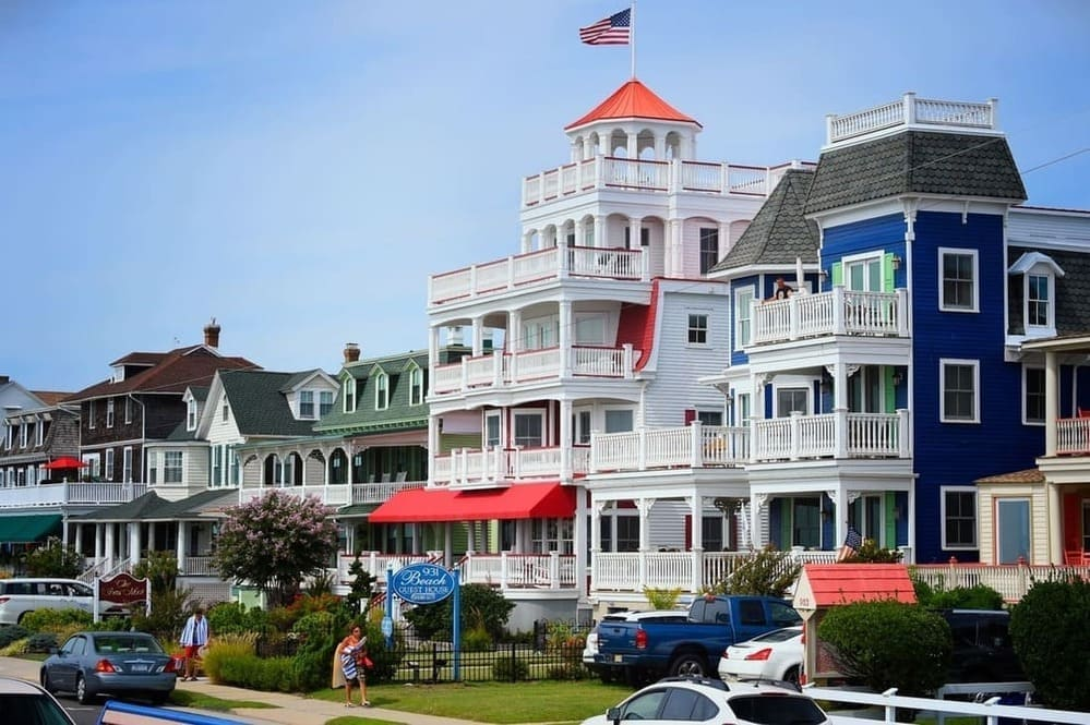 colorful beach guest houses in Cape May, NJ
