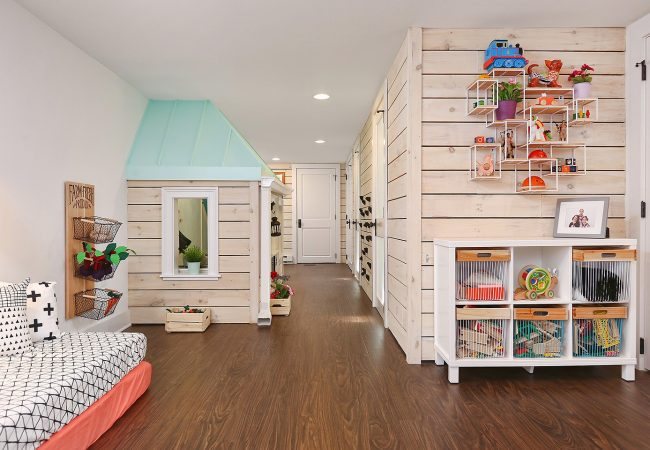 University City finished basement with kids playhouse in West Philadelphia by Bellweather Design Build