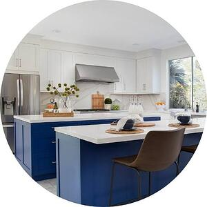 beautifully modern blue and white double kitchen islands in Philadelphia