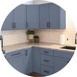 steel blue custom painted cabinets in Philadelphia